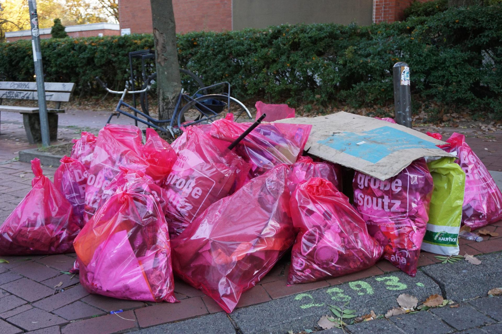 Müllsammelaktion in der Stadt